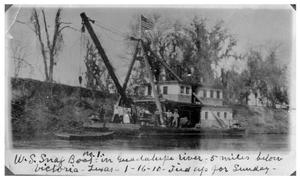 Primary view of object titled 'United States Snag Boat Number One on Guadalupe River near Victoria, Texas'.