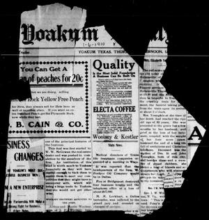 Primary view of object titled 'Yoakum Weekly Herald (Yoakum, Tex.), Vol. [14], No. [20], Ed. 1 Thursday, January 6, 1910'.