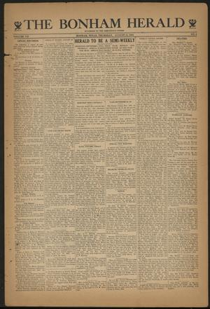 Primary view of object titled 'The Bonham Herald (Bonham, Tex.), Vol. 7, No. 6, Ed. 1 Thursday, August 24, 1933'.