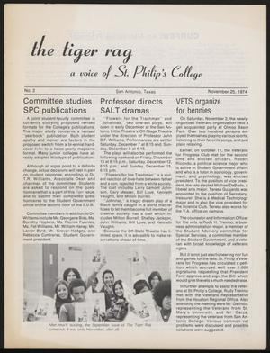 Primary view of object titled 'The Tiger Rag (San Antonio, Tex.), No. 2, Ed. 1 Monday, November 25, 1974'.