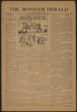 Primary view of object titled 'The Bonham Herald (Bonham, Tex.), Vol. 7, No. 3, Ed. 1 Thursday, August 3, 1933'.