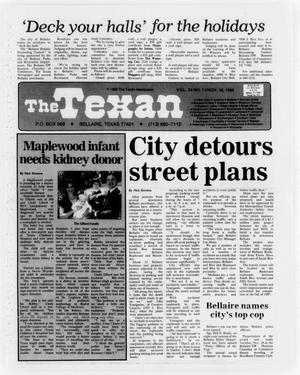 Primary view of object titled 'The Texan (Bellaire, Tex.), Vol. 34, No. 11, Ed. 1 Wednesday, November 19, 1986'.