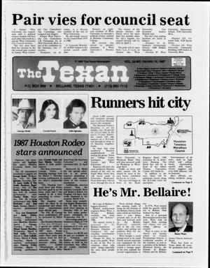 Primary view of object titled 'The Texan (Bellaire, Tex.), Vol. 34, No. 19, Ed. 1 Wednesday, January 14, 1987'.