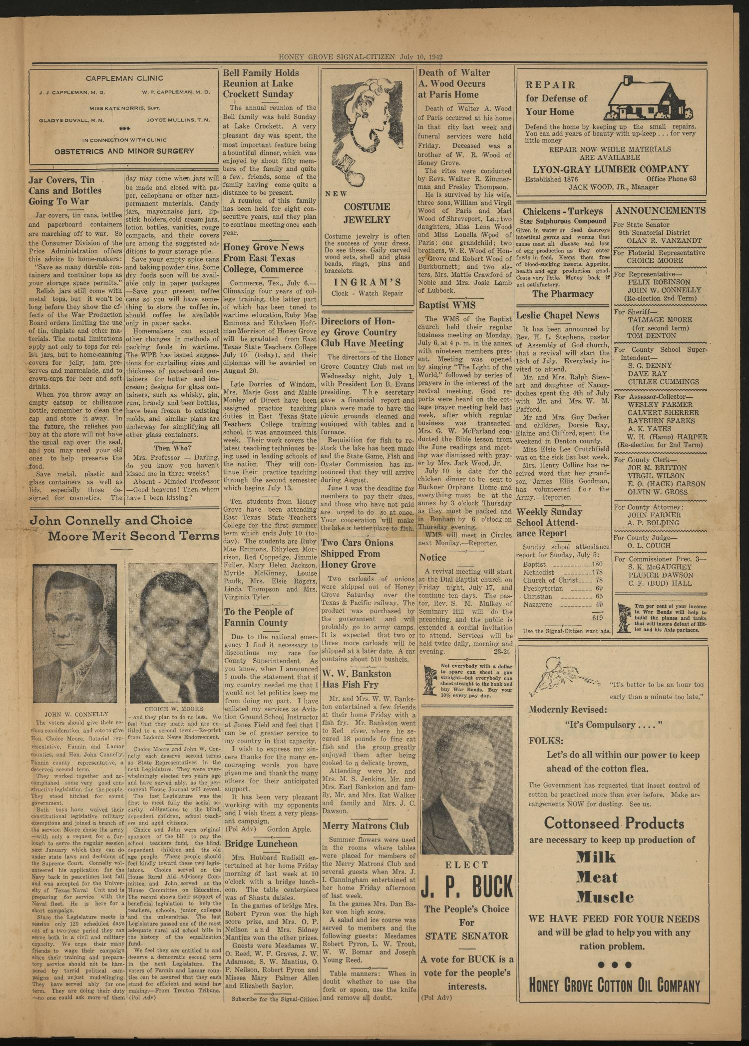 Honey Grove Signal-Citizen (Honey Grove, Tex.), Vol. 52, No. 24, Ed. 1 Friday, July 10, 1942                                                                                                      [Sequence #]: 5 of 8