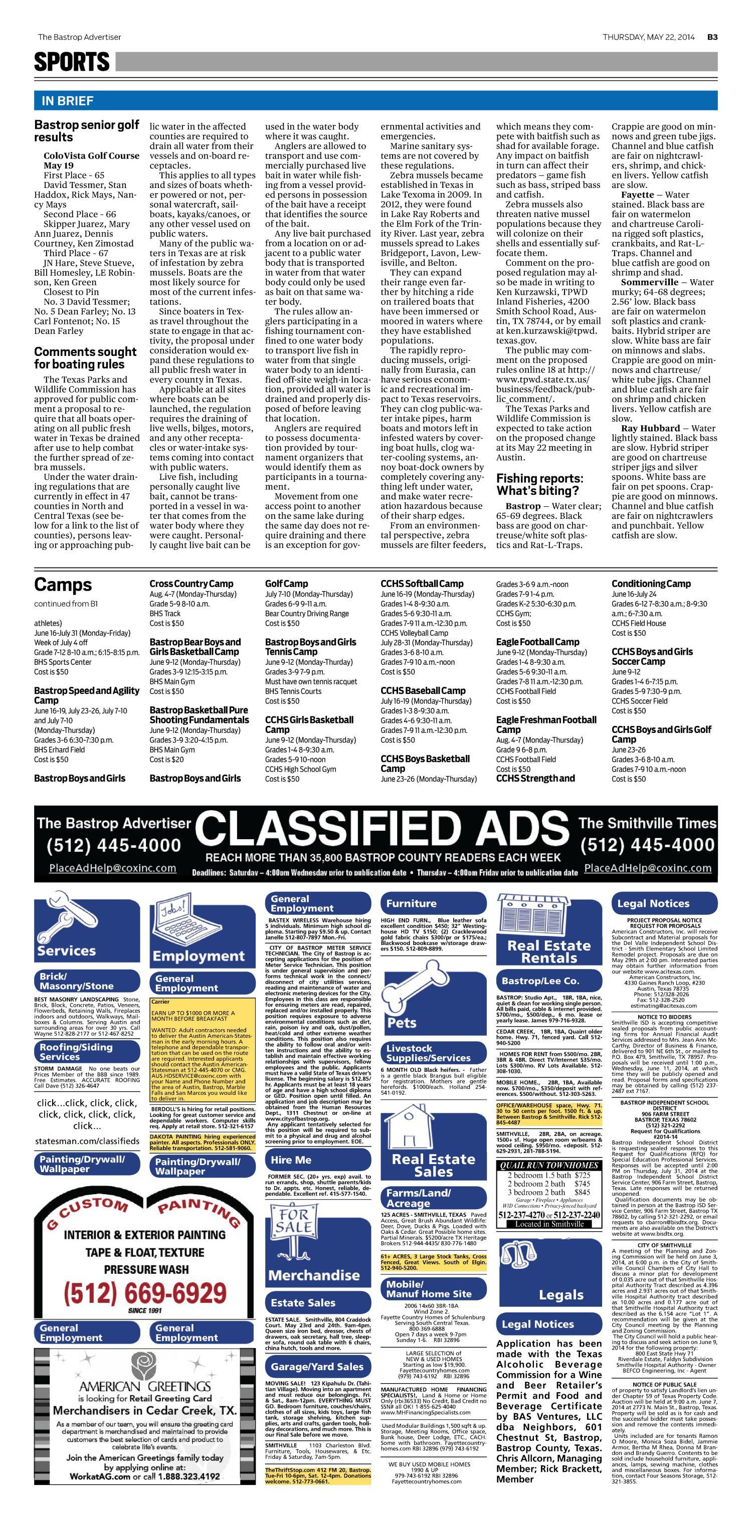 The Bastrop Advertiser Bastrop Tex Vol 161 No 31 Ed 1