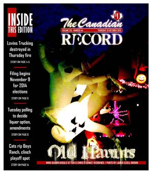 Primary view of object titled 'The Canadian Record (Canadian, Tex.), Vol. 123, No. 44, Ed. 1 Thursday, October 31, 2013'.