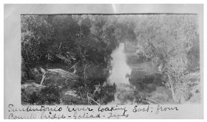 Primary view of object titled 'San Antonio River, looking east from county bridge, Goliad, Texas'.