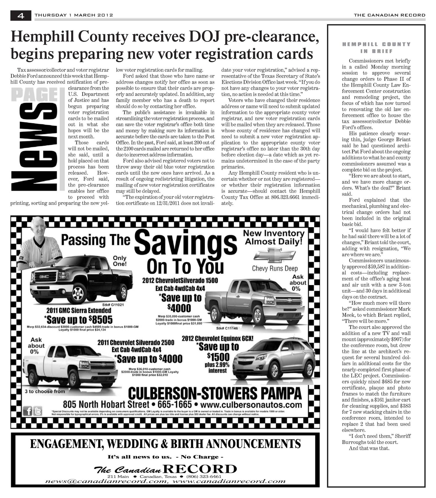 The Canadian Record (Canadian, Tex.), Vol. 122, No. 9, Ed. 1 Thursday, March 1, 2012                                                                                                      [Sequence #]: 4 of 35