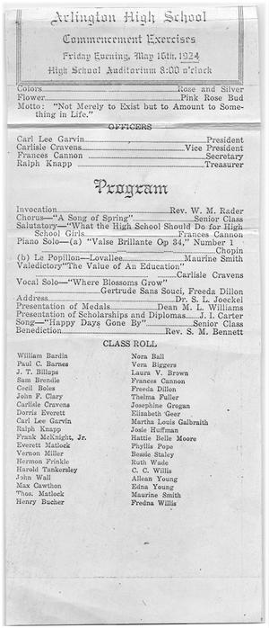 Primary view of object titled 'Arlington High School Commencement Program, 1924'.