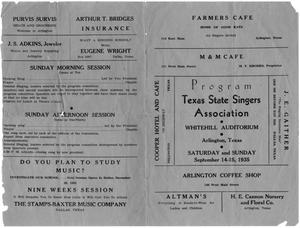 Primary view of object titled 'Program, Texas State Singers Association, 1935'.