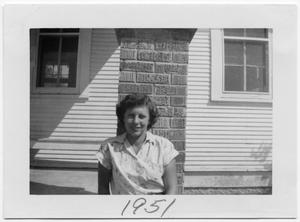 Primary view of object titled '[Dorothy Attkisson on School Porch]'.