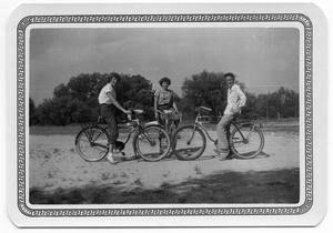 Primary view of object titled '[Three Students on Bikes]'.