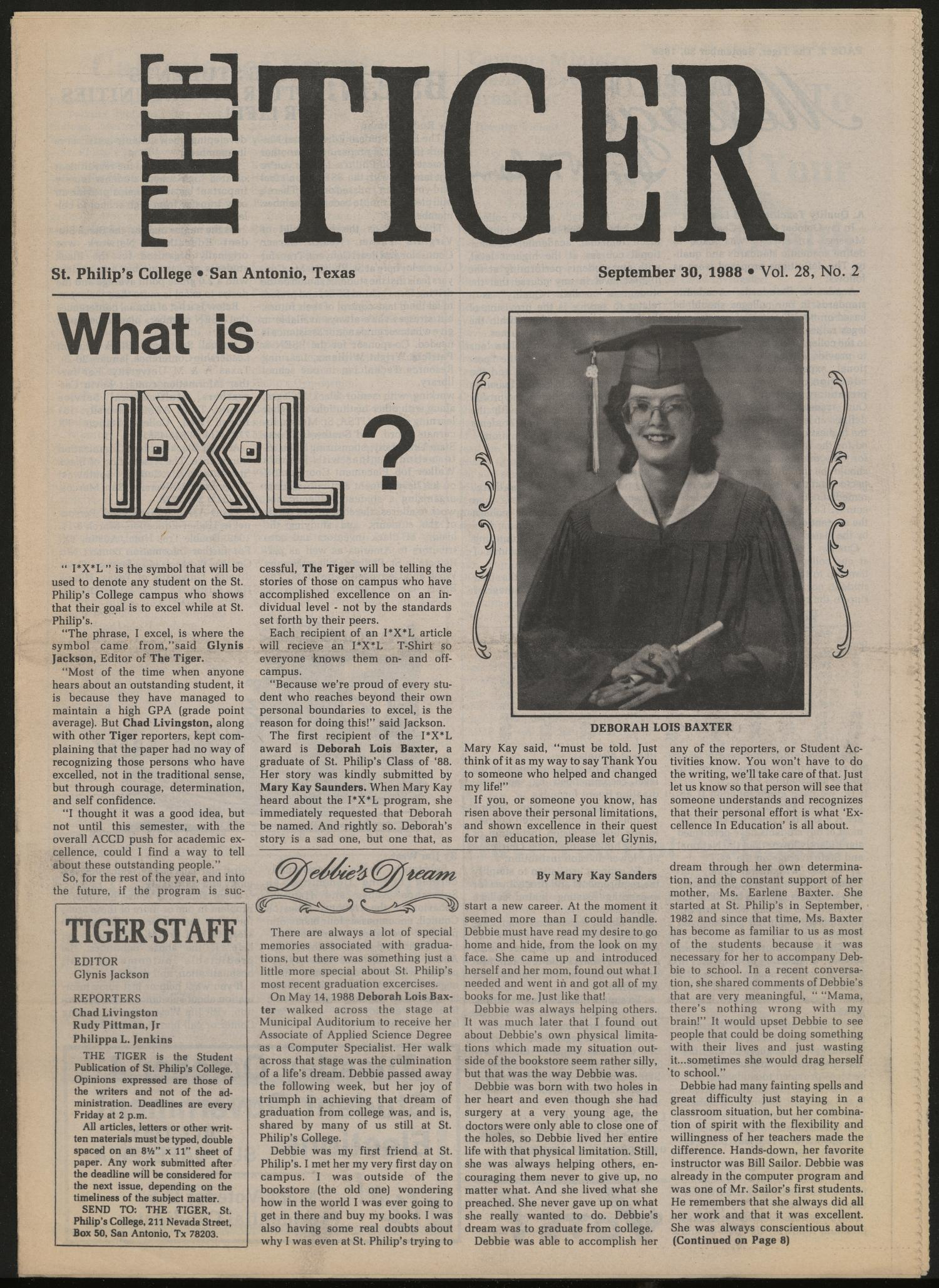 The Tiger (San Antonio, Tex.), Vol. 28, No. 2, Ed. 1 Friday, September 30, 1988                                                                                                      [Sequence #]: 1 of 12