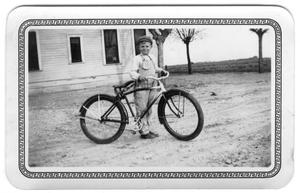 Primary view of object titled '[Ray Joy Wiederstein and Bicycle]'.