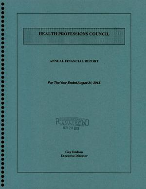 Primary view of object titled 'Health Professions Council Annual Financial Report: Fiscal Year Ended August 31, 2014'.