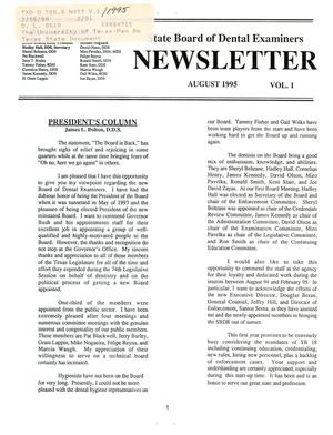 Primary view of object titled 'Texas State Board of Dental Examiners Newsletter, Volume 1, August 1995'.