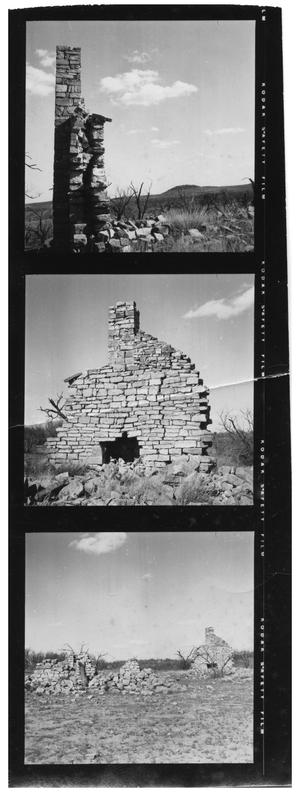 Primary view of object titled '[Three Negatives of the Ruins of Stone Ranch]'.