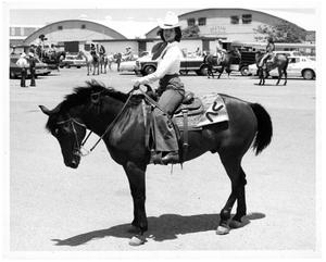 Primary view of object titled '[Elizabeth Greenon Horseback at Fat Stock Show]'.