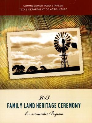 Primary view of 2013 Family Land Heritage Ceremony Commemorative Program