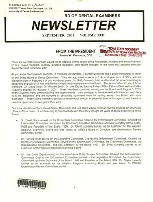 Primary view of object titled 'Texas State Board of Dental Examiners Newsletter, Volume 13, September 2001'.
