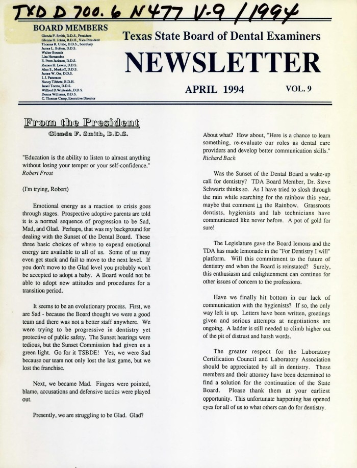 Texas State Board of Dental Examiners Newsletter, Volume 9