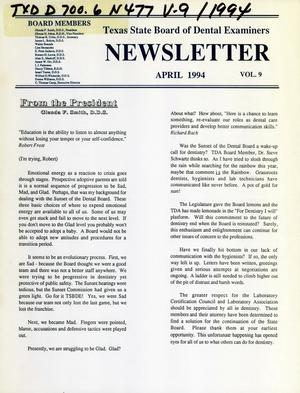 Primary view of object titled 'Texas State Board of Dental Examiners Newsletter, Volume 9, April 1994'.