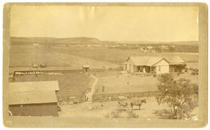 Primary view of object titled '[Early Aerial View of Albany, Texas]'.