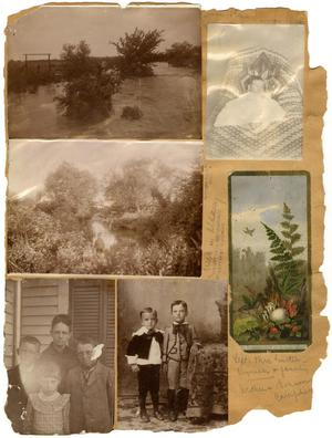 Primary view of object titled '[Scrapbook Page with Photos of Swollen Rivers, People, and an Illustrated Forest Scene]'.