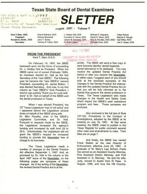 Primary view of object titled 'Texas State Board of Dental Examiners Newsletter, Volume 5, August 1997'.