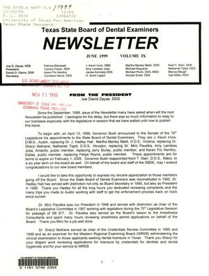Primary view of object titled 'Texas State Board of Dental Examiners Newsletter, Volume 9, June 1999'.