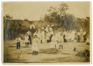 Primary view of object titled '[Large Group of Adults and Children Standing Outdoors]'.