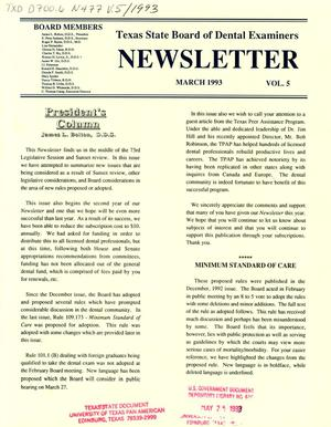 Primary view of object titled 'Texas State Board of Dental Examiners Newsletter, Volume 5, March 1993'.