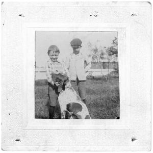 Primary view of object titled '[Two Young Boys with a Dog]'.