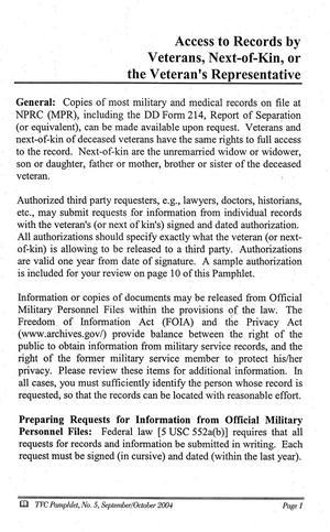 Texas Veterans Commission Pamphlet, Number 5, September
