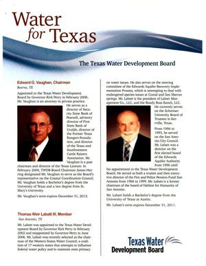 Primary view of object titled 'Water for Texas: The Texas Water Development Board'.