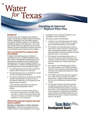 Primary view of object titled 'Water for Texas: Amending an Approved Regional Water Plan'.