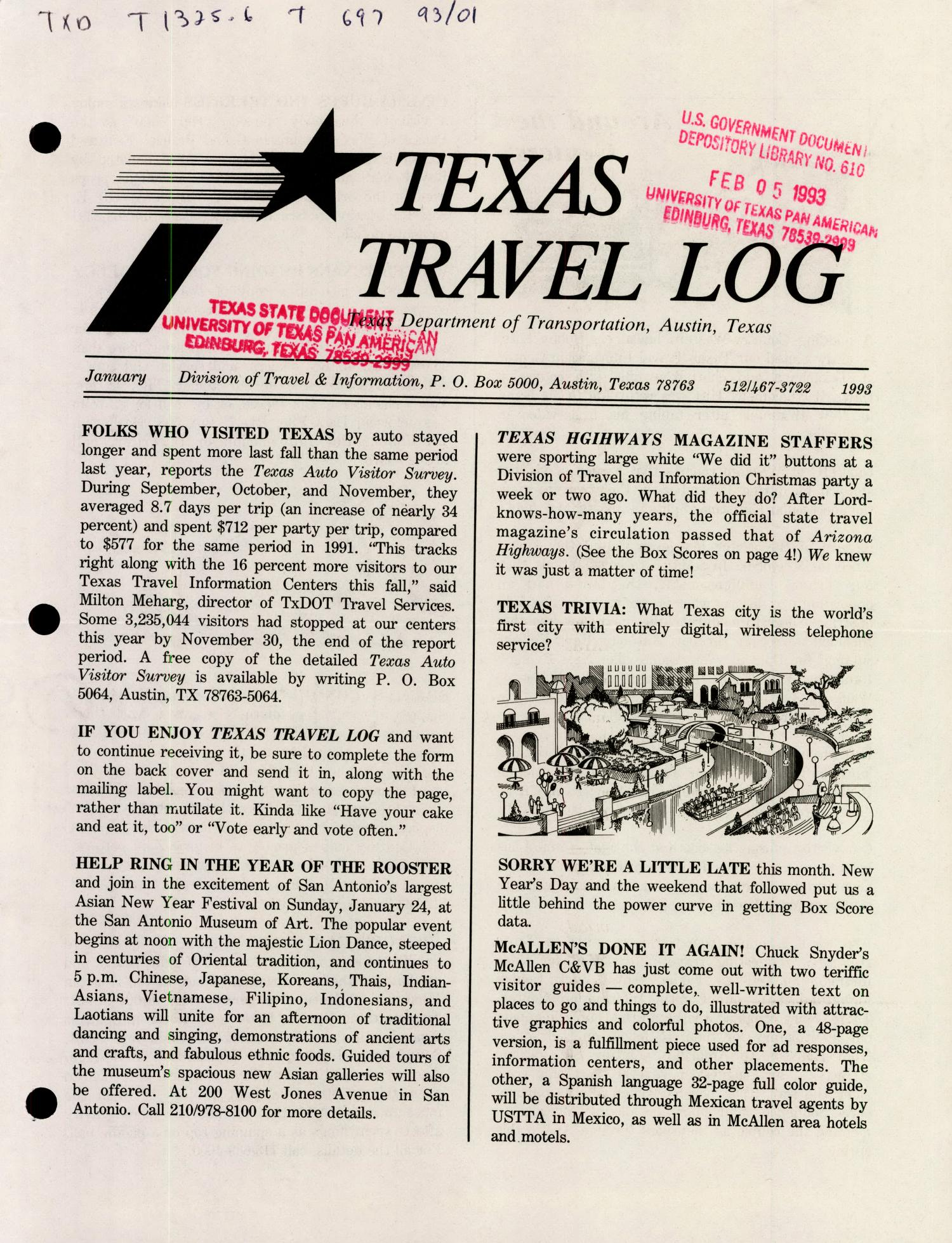 Texas Travelog, January 1993                                                                                                      Front Cover
