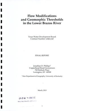 Primary view of object titled 'Flow Modifications and Geomorphic Thresholds in the Lower Brazos River: Final Report'.