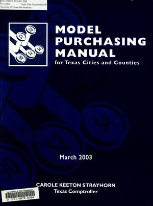 Primary view of object titled 'Model Purchasing Manuel: For Texas Cities and Counties'.