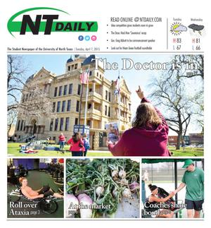 Primary view of object titled 'NT Daily (Denton, Tex.), Vol. 104, No. 20, Ed. 1 Tuesday, April 7, 2015'.