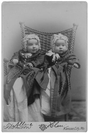 Primary view of object titled '[Two Infants Sitting on a Wicker Chair]'.