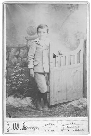 Primary view of object titled '[Portrait of John Conrad Leaning on a Gate]'.