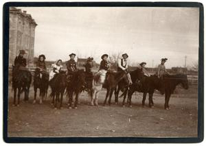 Primary view of object titled '[Nine People on Horseback]'.