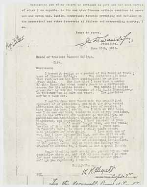 Primary view of object titled '[Letter from K. K. Legett to the Board of Trustees of Simmons College - June 15, 1911]'.