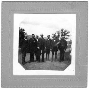 Primary view of object titled '[Seven Men Outdoors in Suits]'.