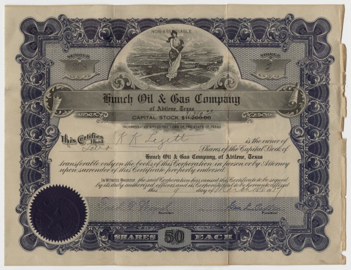 Hunch Oil & Gas Company Stock Certificate] - The Portal to