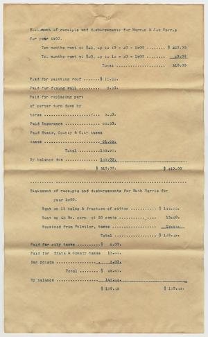 Primary view of object titled '[Receipts and Disbursements Statements for Harris Family Members'.