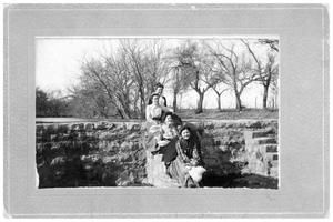 Primary view of object titled '[Group of Young Women Seated Near a Stone Wall]'.
