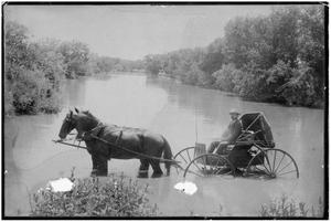 Primary view of object titled '[Horse-Drawn Wagon Standing in a River]'.