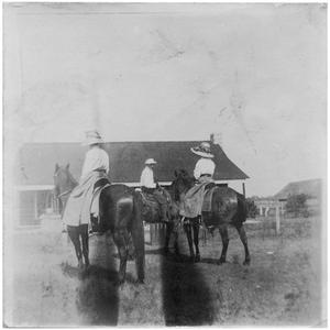 Primary view of object titled '[Three Riders in front of a House]'.